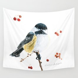 Christmas Chickadee by Teresa Thompson Wall Tapestry