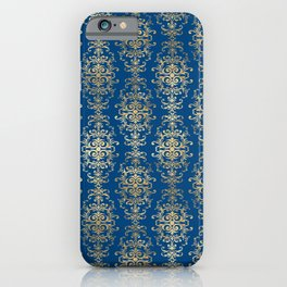 Elegant Blue and Gold Royal Damask Rows Pattern iPhone Case