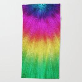 Colorful Starburst Tie Dye Beach Towel