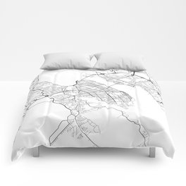 Halifax Map, Canada - Black and White Comforters