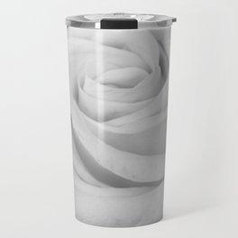 Single white rose close up Travel Mug