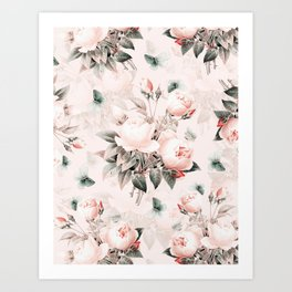 Vintage & Shabby Chic - Pink Redouté Roses Flower Bunches Art Print