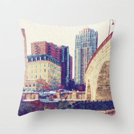 Minneapolis, Minnesota Skyline Stone Arch Bridge Throw Pillow