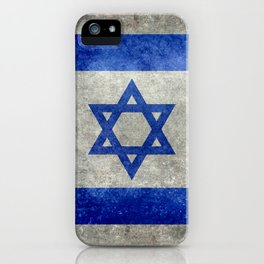 National flag of the State of Israel with distressed worn patina iPhone Case