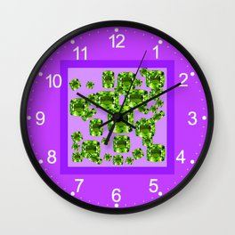 Green Peridot Birthstone Gems with Purple Color Accents Wall Clock