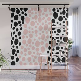Dot Stripe minimalist painting black polka dots with millennial pink stripe art print and decor Wall Mural