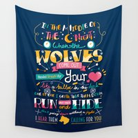 wolves Wall Tapestries featuring Wolves by Art of Nanas