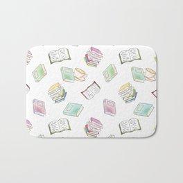 Book Nerd! Watercolor Pattern Illustration of Books & Tea Bath Mat