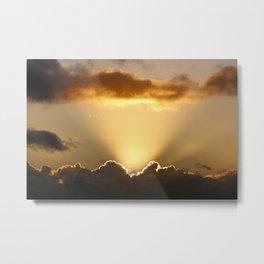 Sun rays and dark clouds Metal Print