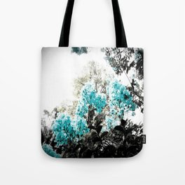 Turquoise & Gray Flowers Tote Bag
