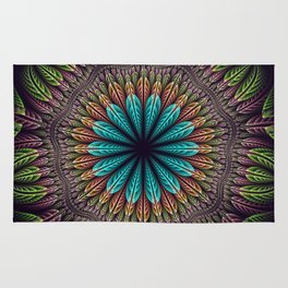 Tropical fantasy flower and leaves, fractal abstract Rug
