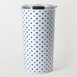 Geometrical trendy navy blue white polka dots pattern Travel Mug