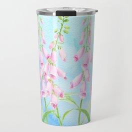 Watercolor Pink Foxgloves Travel Mug