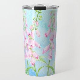 Watercolor Pink Foxgloves Travel Mug