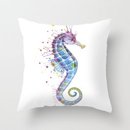 Seahorse: Purple Throw Pillow