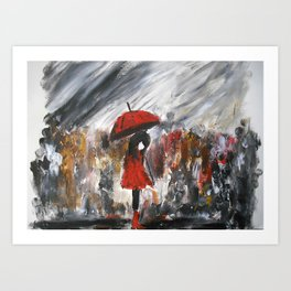 Girl In Red Raincoat Umbrella Rainy Day Fine Art Print Of Acrylic Painting Art Print