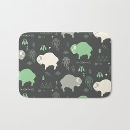 Seamless pattern with cute baby buffaloes and native American symbols, dark gray Bath Mat