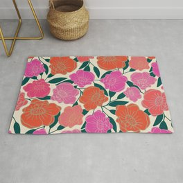 Bold Poppies in hot pink, corals and burnt orange Rug