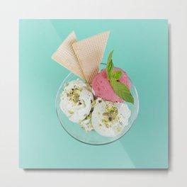 Pistachio & Strawberry Ice-cream Metal Print