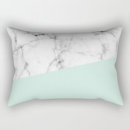 Real White marble Half pastel Mint Green Rectangular Pillow