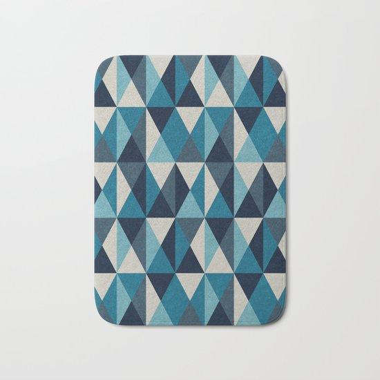 White, indigo and black rhombus pattern Bath Mat