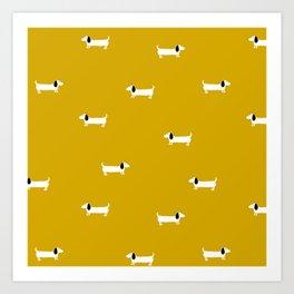 Dog dachshund pattern Art Print