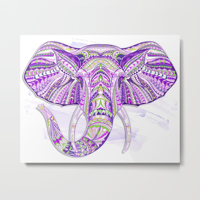 Purple Ethnic Elephant Metal Print