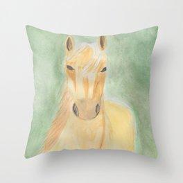 Watercolor Palomino Horse Throw Pillow