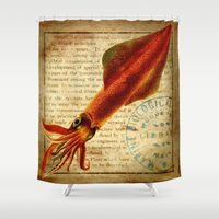squid Shower Curtains featuring Squid by NeverlandDream