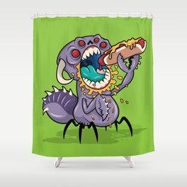Om Nom Alien Bug Shower Curtain
