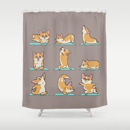 Corgi Yoga Shower Curtain
