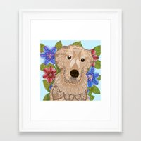 golden retriever Framed Art Prints featuring Golden Retriever by ArtLovePassion