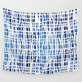 Shibori Braid Vivid Indigo Blue and White Wall Tapestry