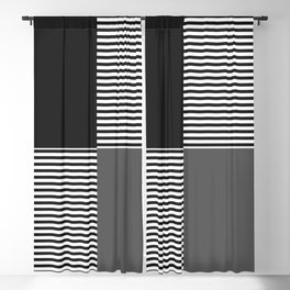 Dash in Black and Grey Blackout Curtain