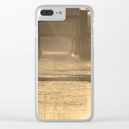 Bridge in morning sun and mist Clear iPhone Case