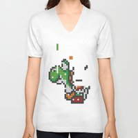 tetris V-neck T-shirts featuring Yoshi Tetris by Tombst0ne