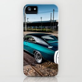 1969 MOPAR Hemi Charger RT in Q5 Turquoise Blue iPhone Case