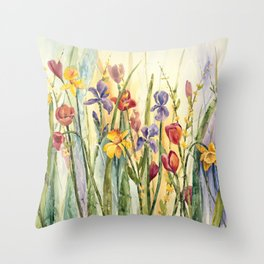 Spring Medley Flowers Throw Pillow