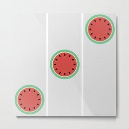 Watermelon Clock Triptych Metal Print