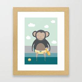 Monkey Eating Crisps Framed Art Print