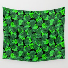 Big Monstera Tropical Leaf Hawaii Rain Forest Black and Green Wall Tapestry