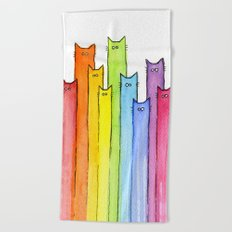 Rainbow of Cats Funny Whimsical Colorful Cat Animals Beach Towel