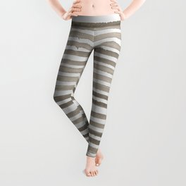 Simply Shibori Stripes Earth Brown on Lunar Gray Leggings