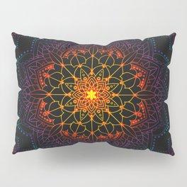 'Glowing Shamballa' Bohemian Mandala Black Blue Purple Orange Yellow Pillow Sham