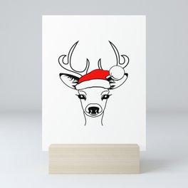 Antlers Deer With Santa Claus Hat, Magic Reindeer Mini Art Print
