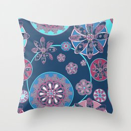 Circles of Flower Blue and Pink Throw Pillow