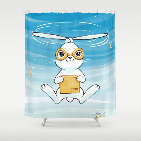 Postal Bunny Shower Curtain