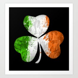 Irish Tricolour Shamrock Art Print