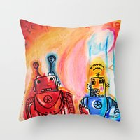 get shit done Throw Pillows featuring Robots Get Shit Done by The Fem Fox