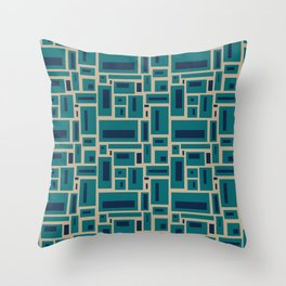 Geometric Rectangles in Navy, Teal and Tan 2 Throw Pillow